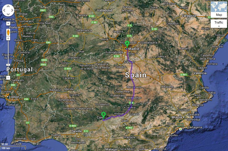Madrid to Cordoba Map